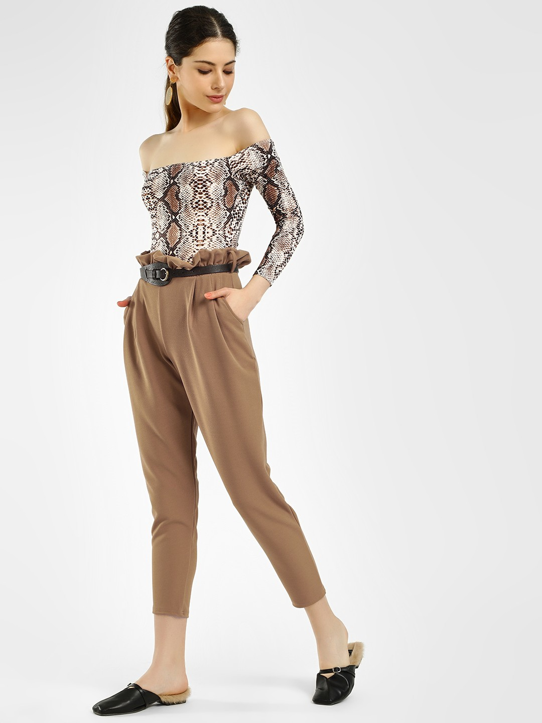 Missi Clothing Camel Paperbag Waist Cropped Trousers 1