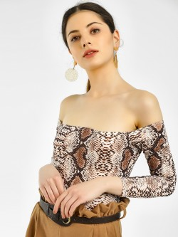 Missi Clothing Snakeskin Print Off-Shoulder Bodysuit