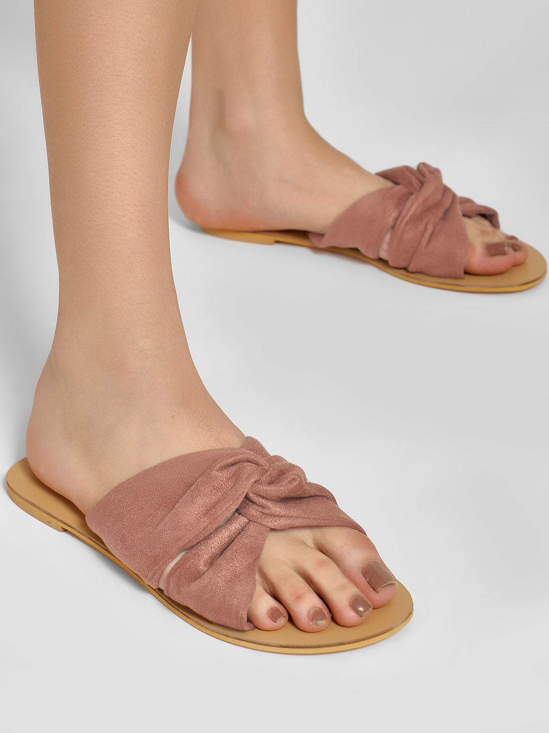 KOOVS Nude Suede Twisted Knot Flat Sandals 1