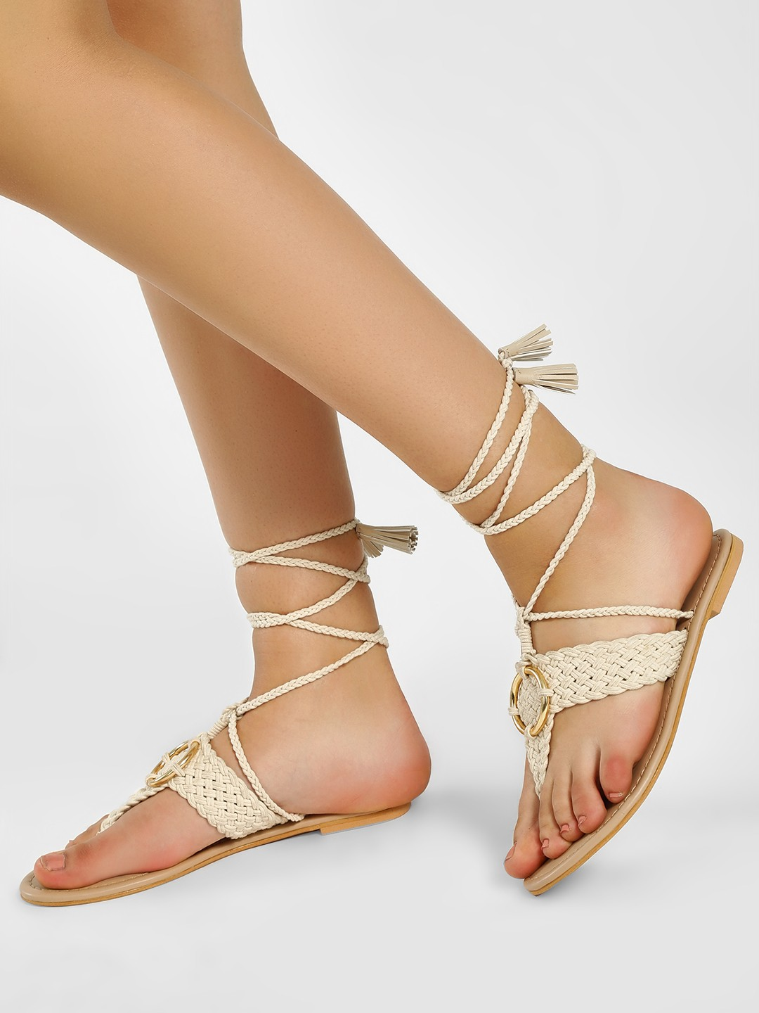 KOOVS Ivory D-Ring Braided Ankle Tie Sandals 1