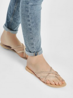 KOOVS Braided Cross Strap Flat Sandals