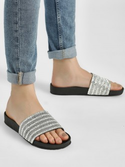 KOOVS Diamante Embellished Pool Slides