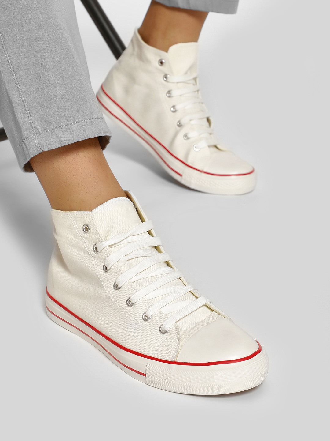 KOOVS White Mid Top Sneakers 1