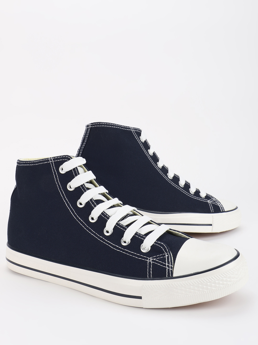 KOOVS Blue Mid-Top Canvas Sneakers 1