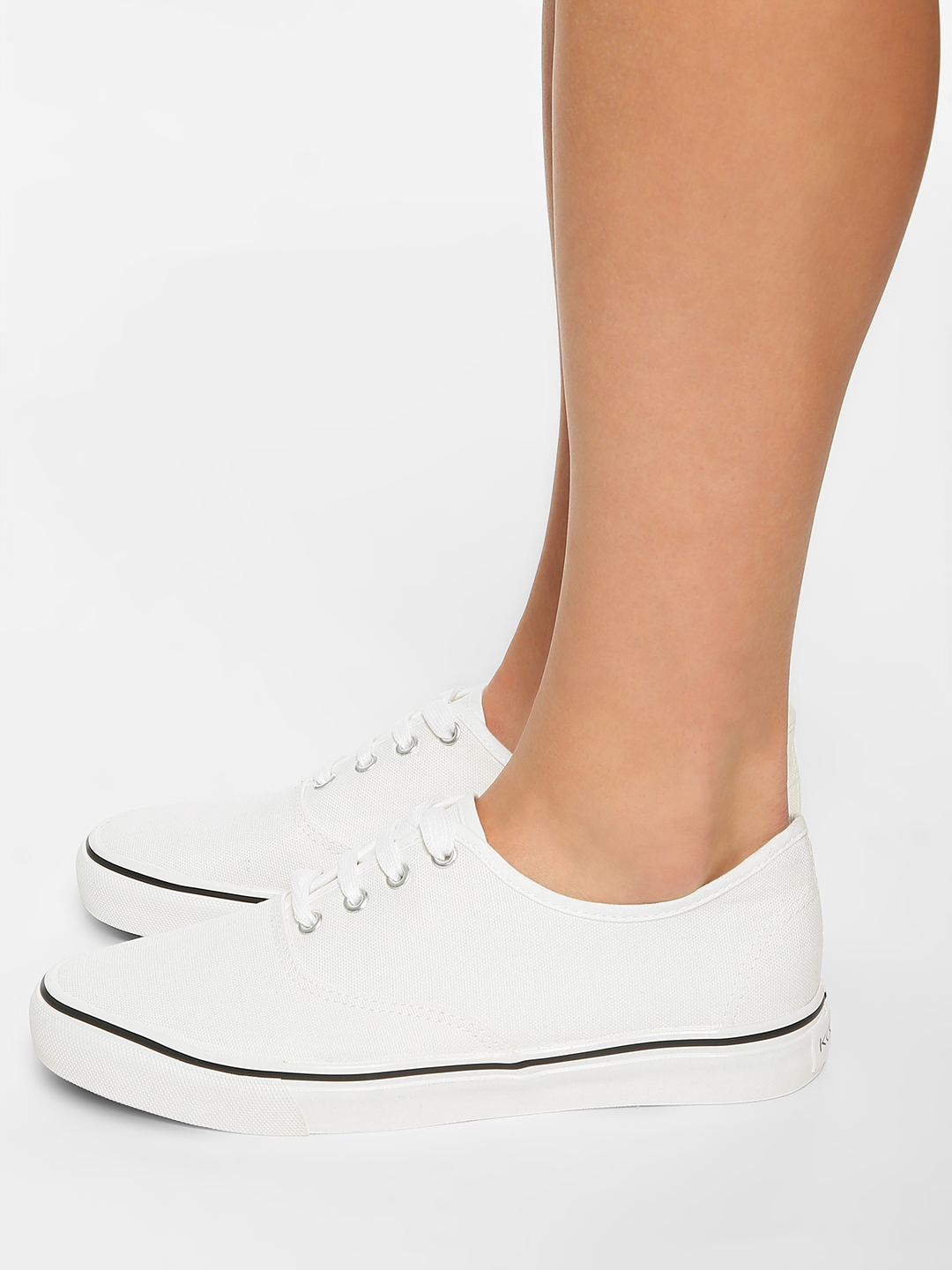 KOOVS White Canvas Low Top Sneakers 1