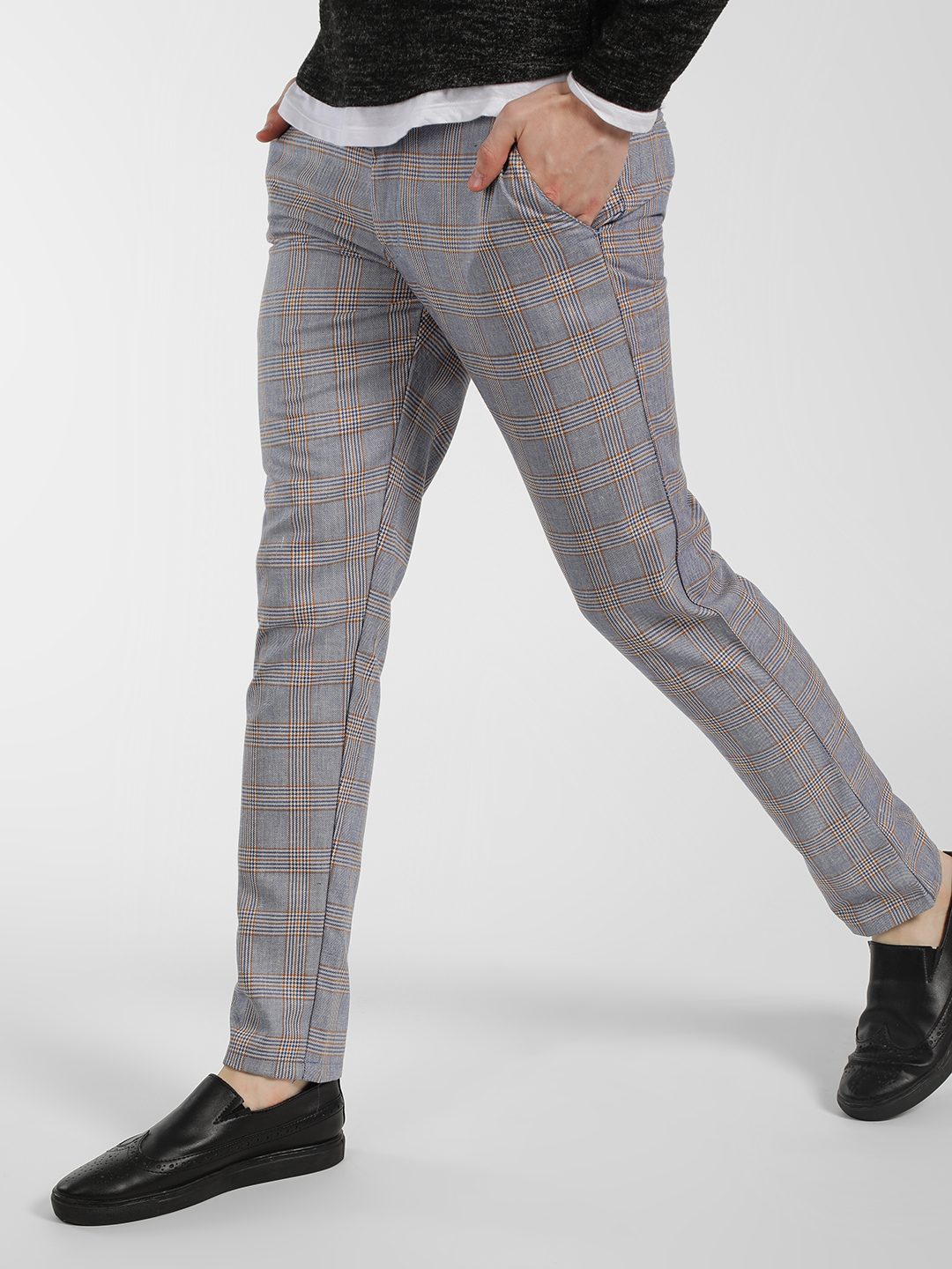 Mr Button Grey Windowpane Checkered Slim-Fit Trousers 1
