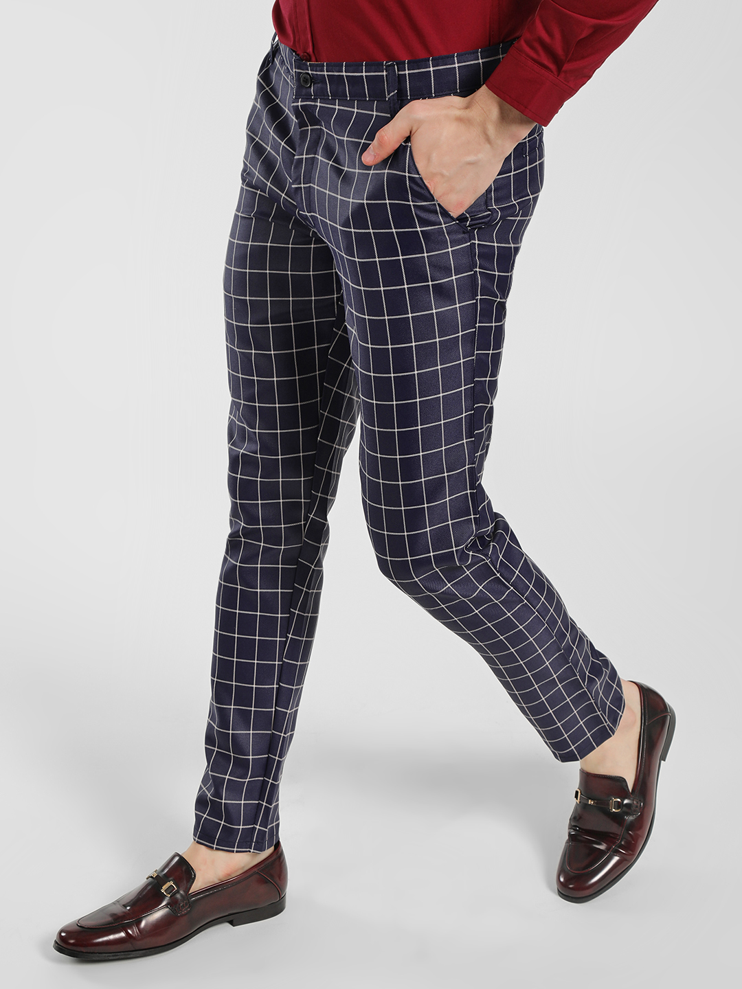 Mr Button Navy Windowpane Checkered Slim-Fit Trousers 1