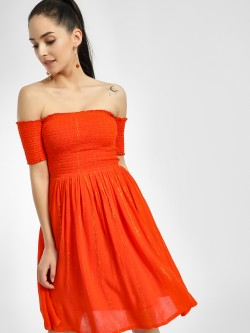 KOOVS Smocked Shimmer Off-Shoulder Dress