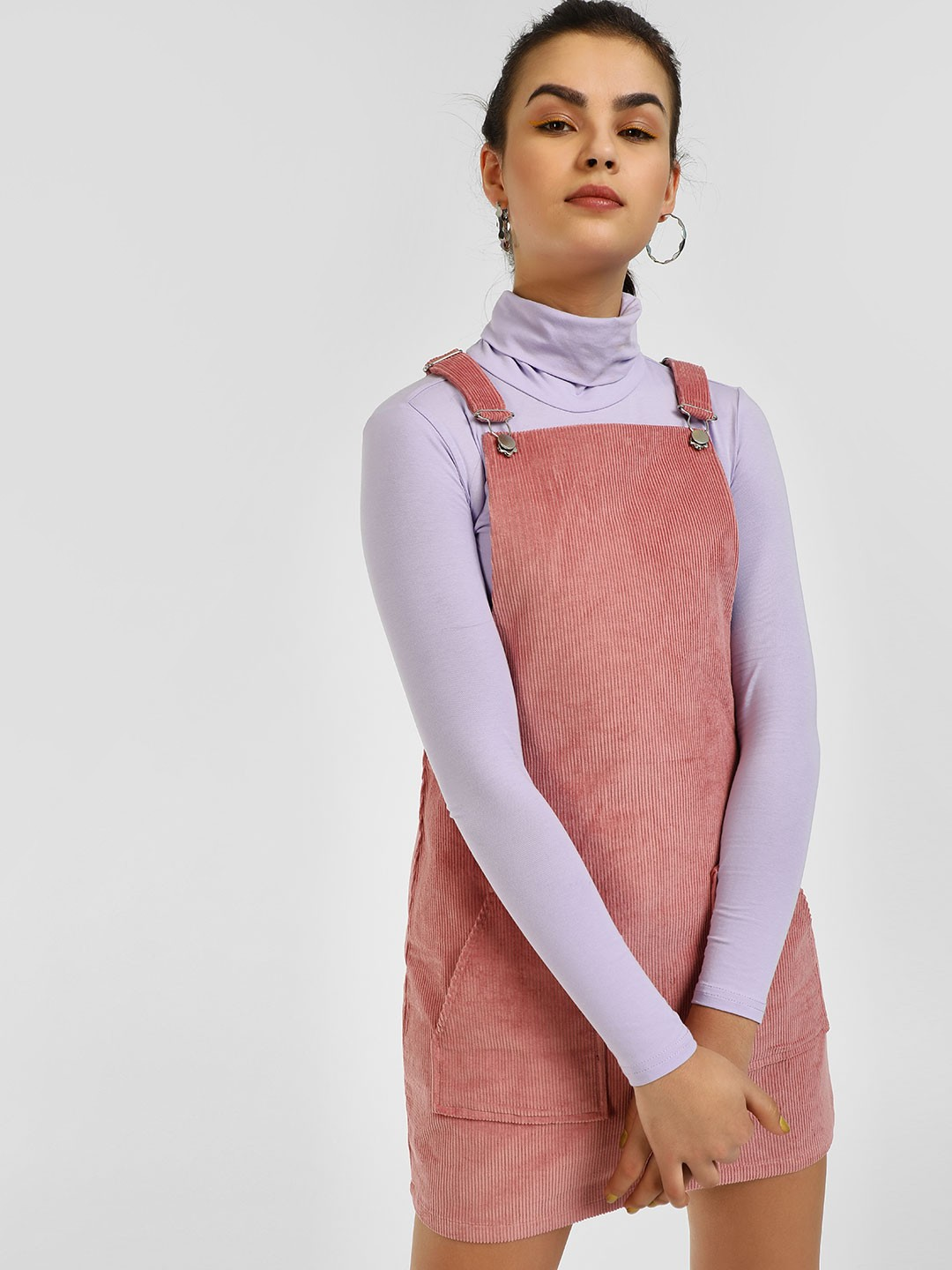 KOOVS Pink Basic Corduroy Pinafore Dress 1