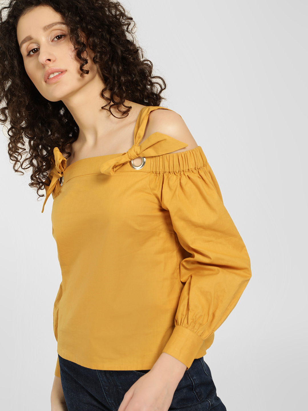 KOOVS Yellow Eyelet Strap Cold Shoulder Blouse 1