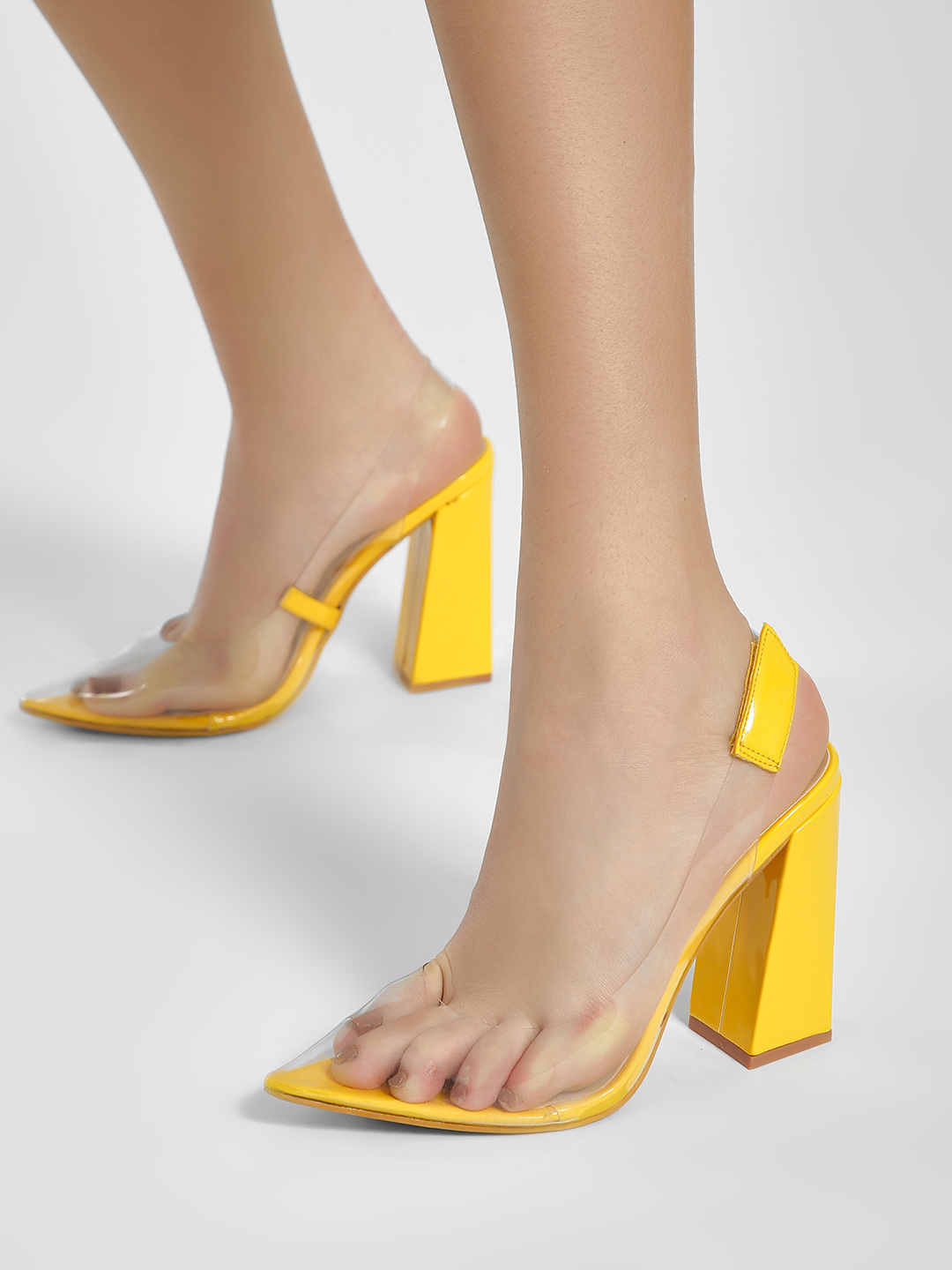 Intoto Yellow Patent Clear Block Heel Pumps 1