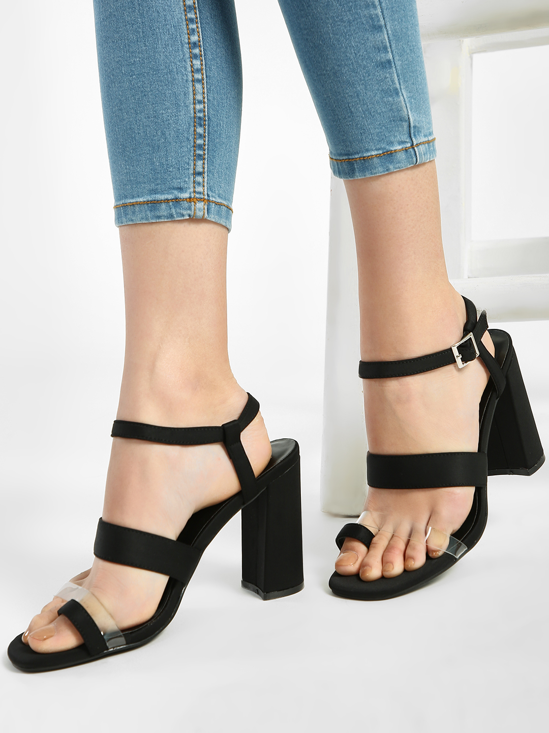 Intoto Black Clear Strap Block Heeled Sandals 1