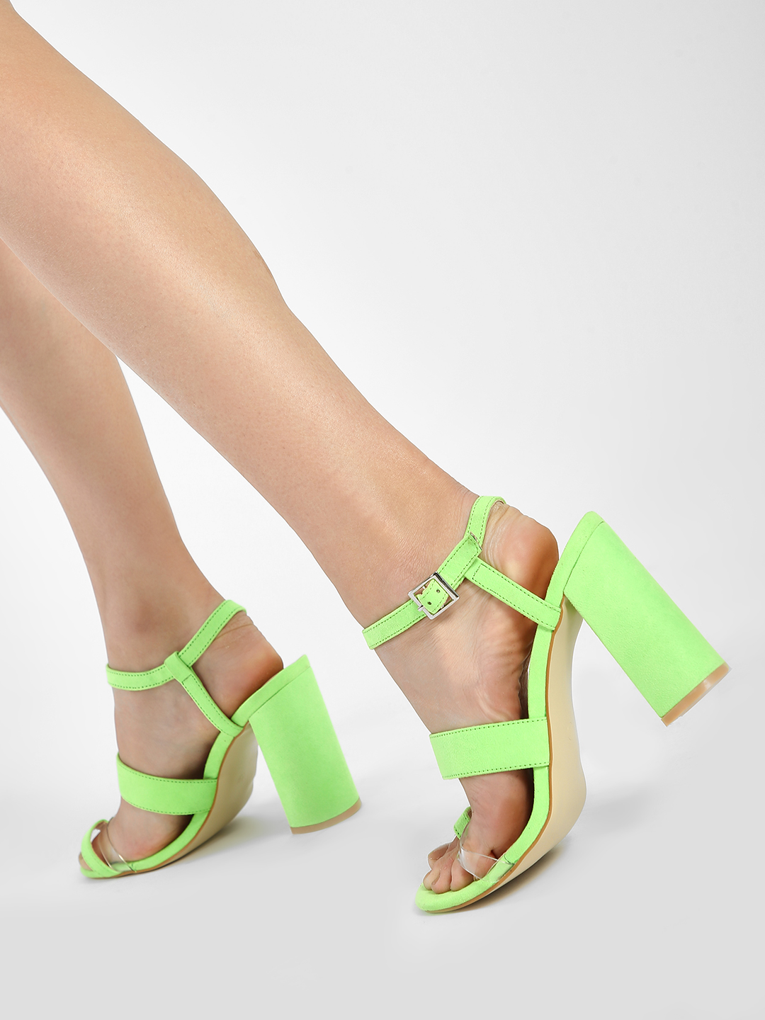 Intoto Green Clear Strap Block Heeled Sandals 1
