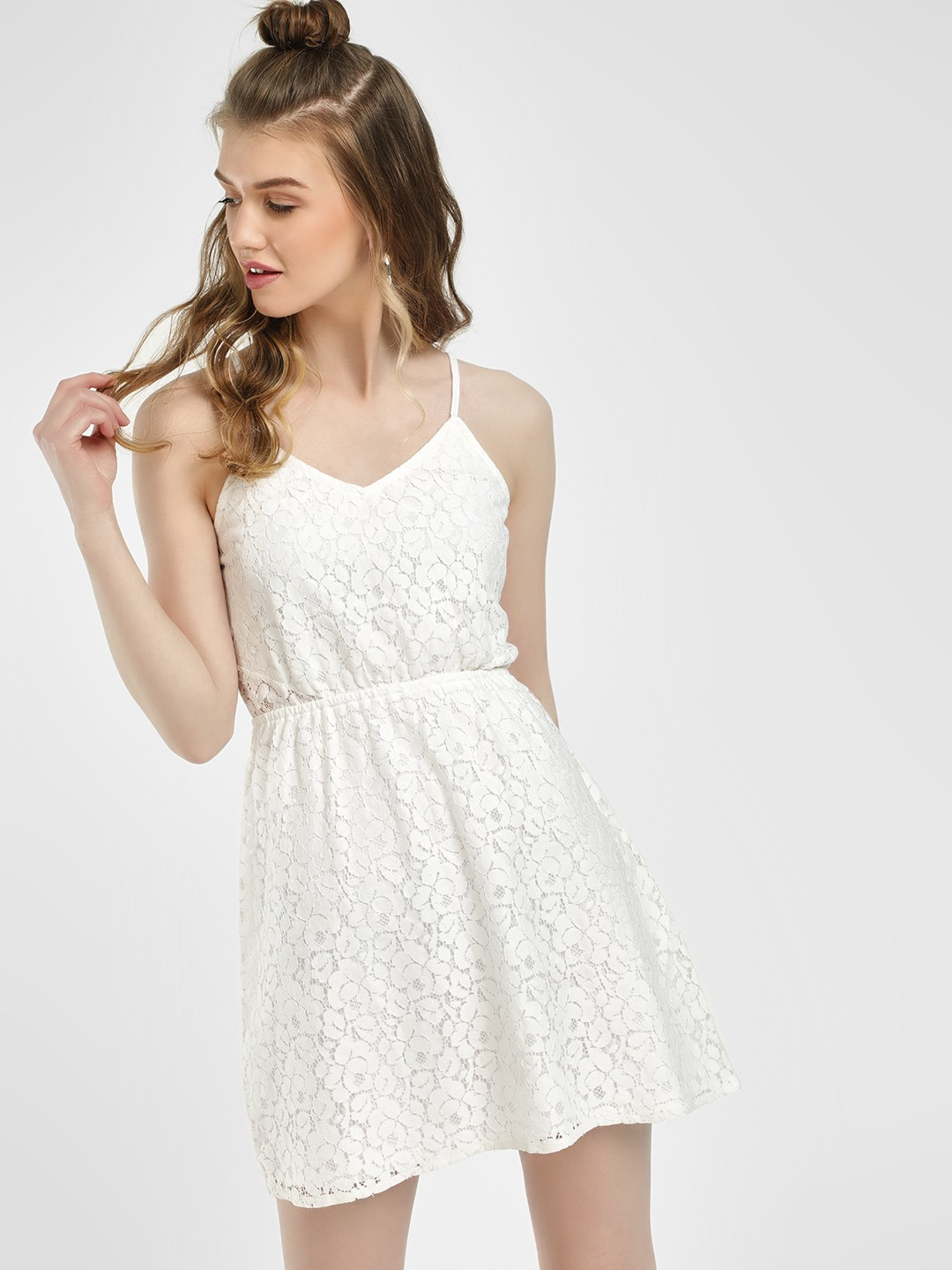 Sbuys White Floral Lace Skater Dress 1