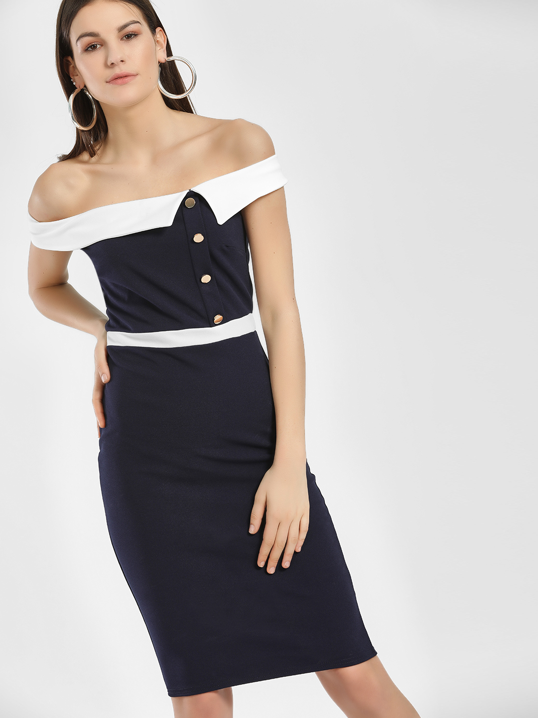Quiz Navy Colour Block Bardot Neck Midi Dress 1