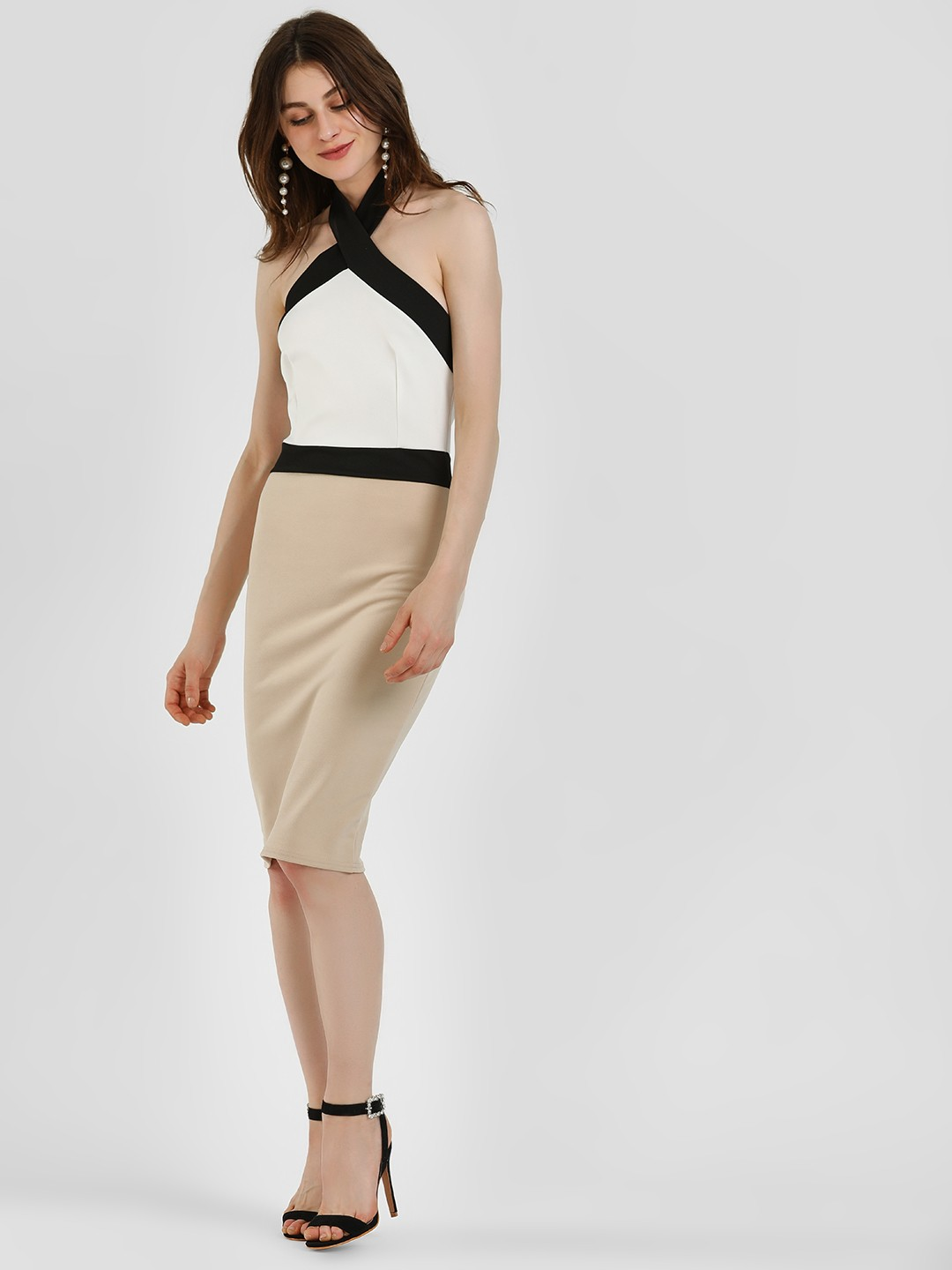 Quiz Multi Colour Block Halter Neck Midi Dress 1