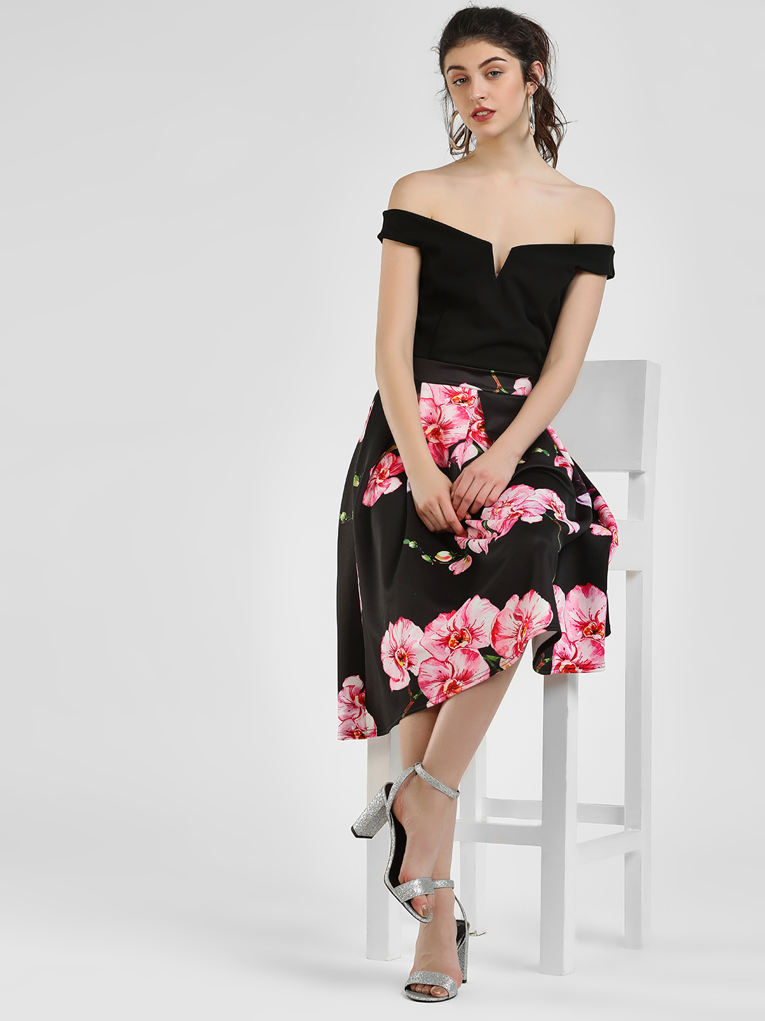 Quiz Black Floral Print Midi Dress 1