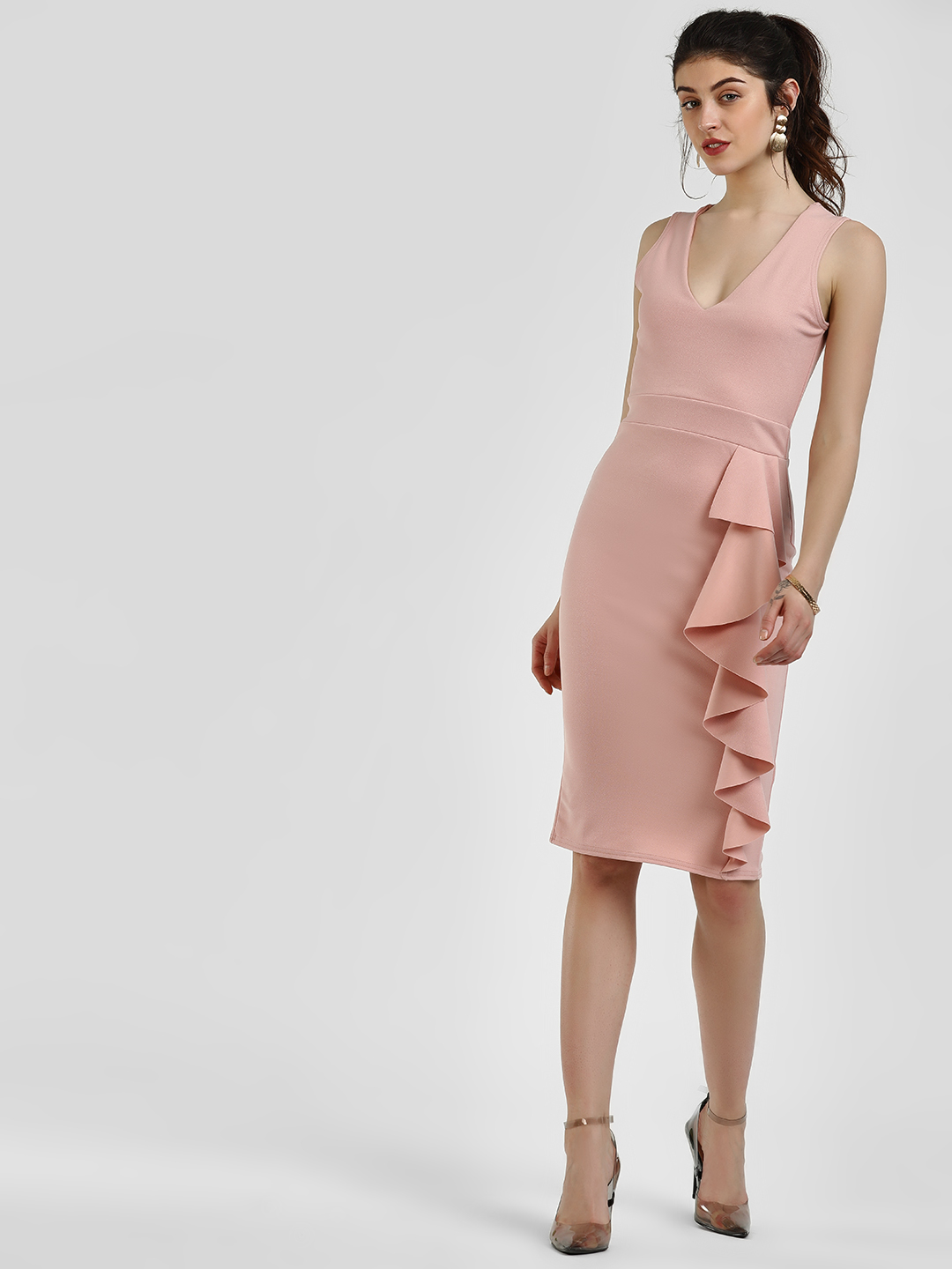 Quiz Pink Side Frill Midi Dress 1