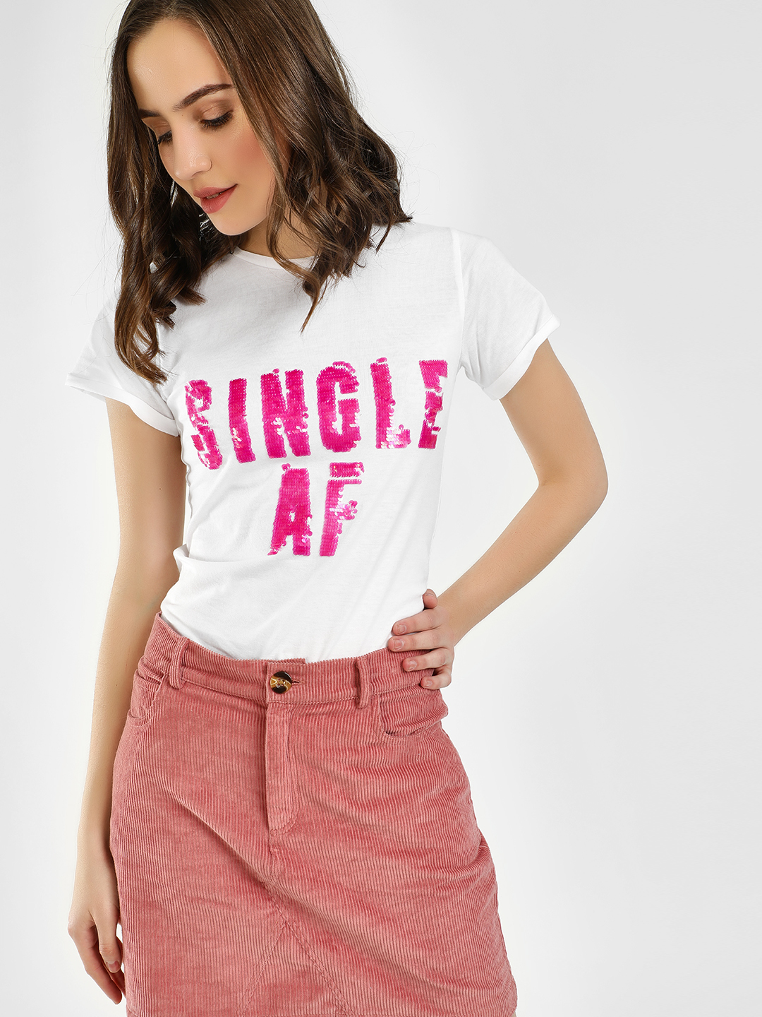 KOOVS Sequin Slogan Embroidere...