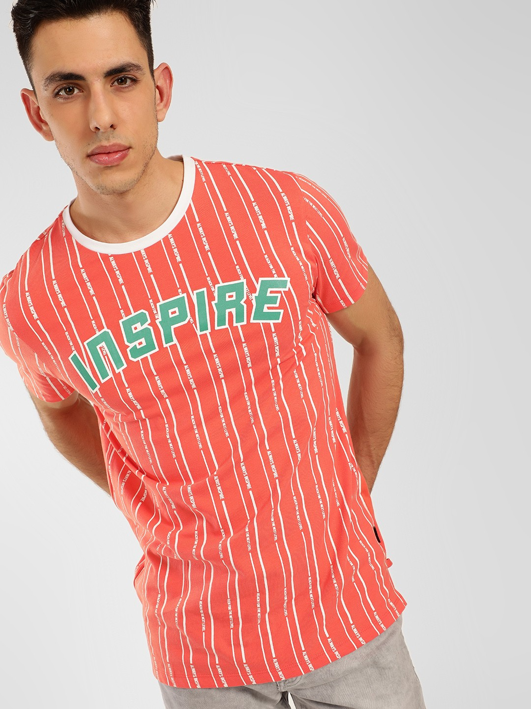 KOOVS Orange Inspire Print Stripe T-Shirt 1
