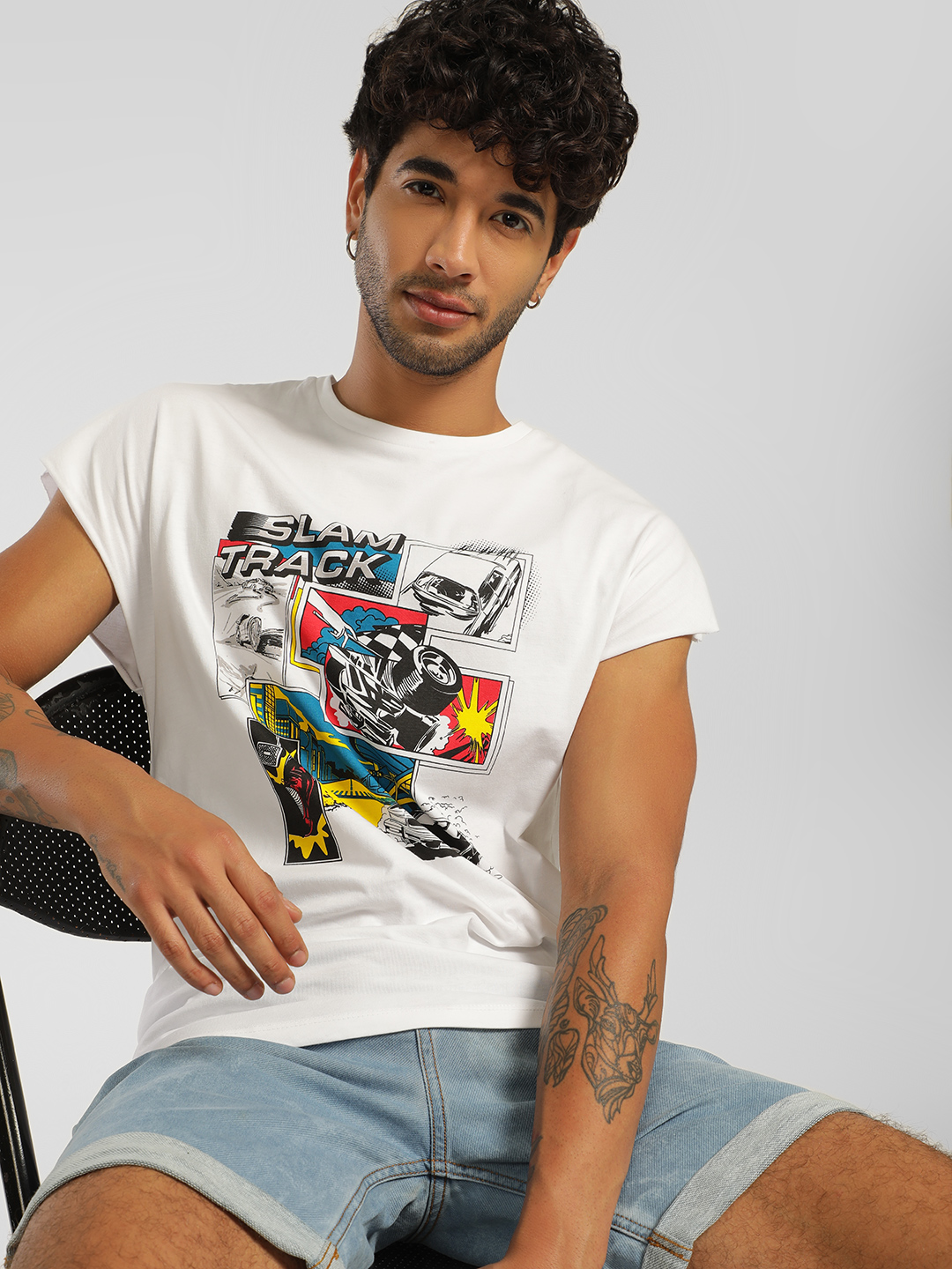 KOOVS Slam Track Racing Print T-Shirt