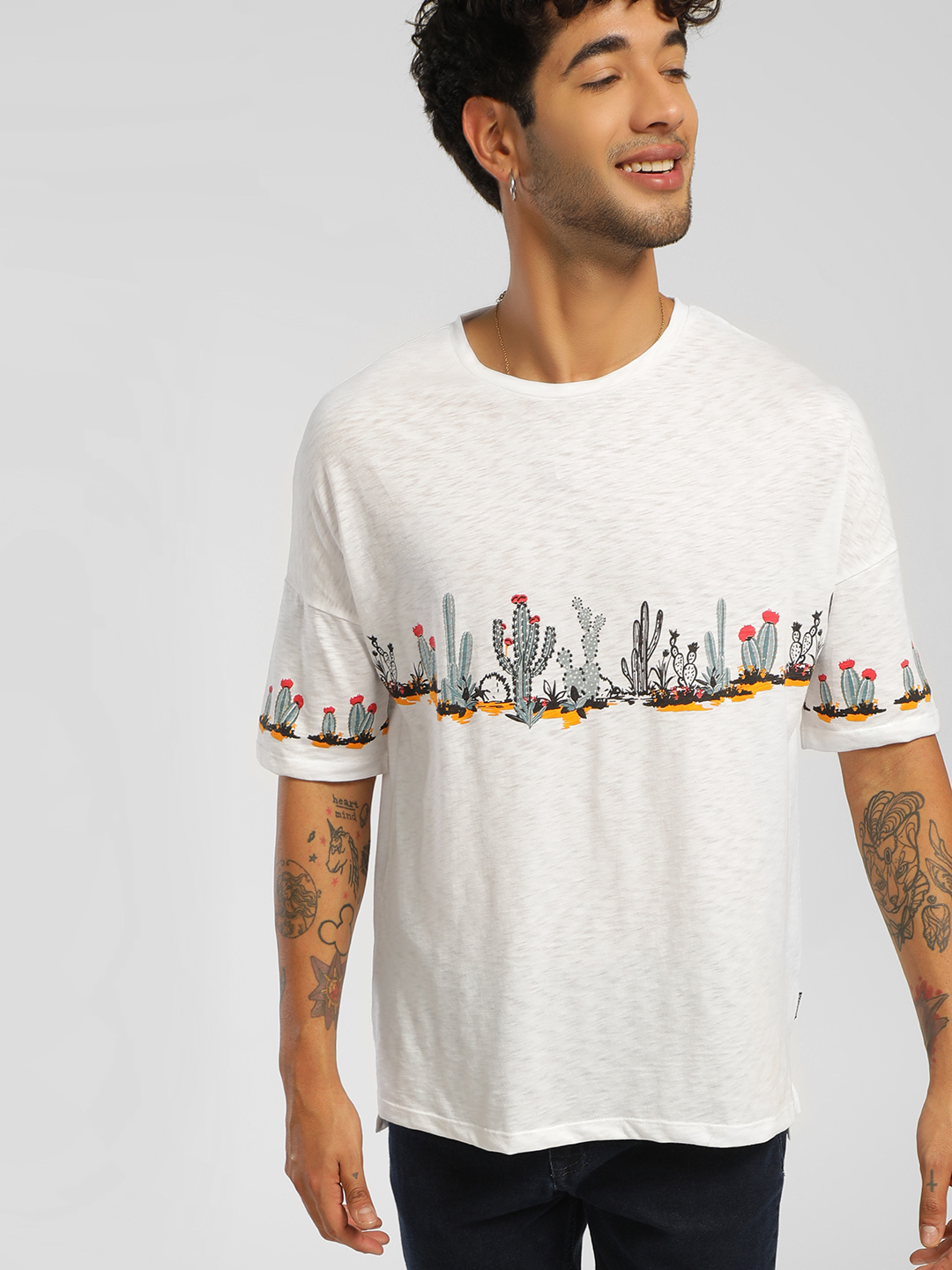 KOOVS White Cactus Placement Print Oversized T-Shirt 1