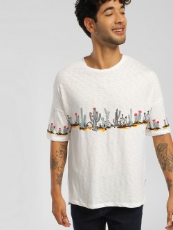 KOOVS Cactus Placement Print Oversized T-Shirt