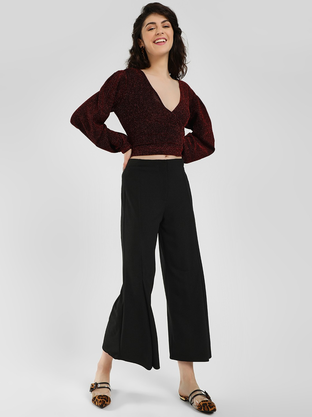 Femella Black Front Slit Casual Trousers 1