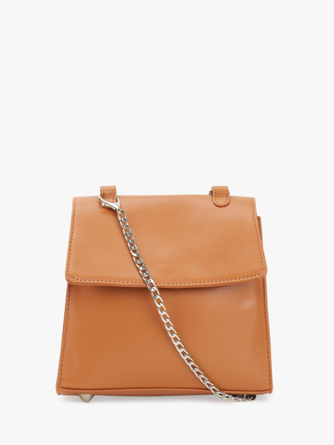 Paris Belle Brown Basic Structured Sling Bag 1