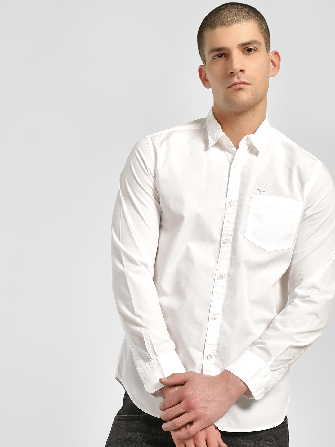 Flying Machine White Basic Long Sleeve Shirt 1