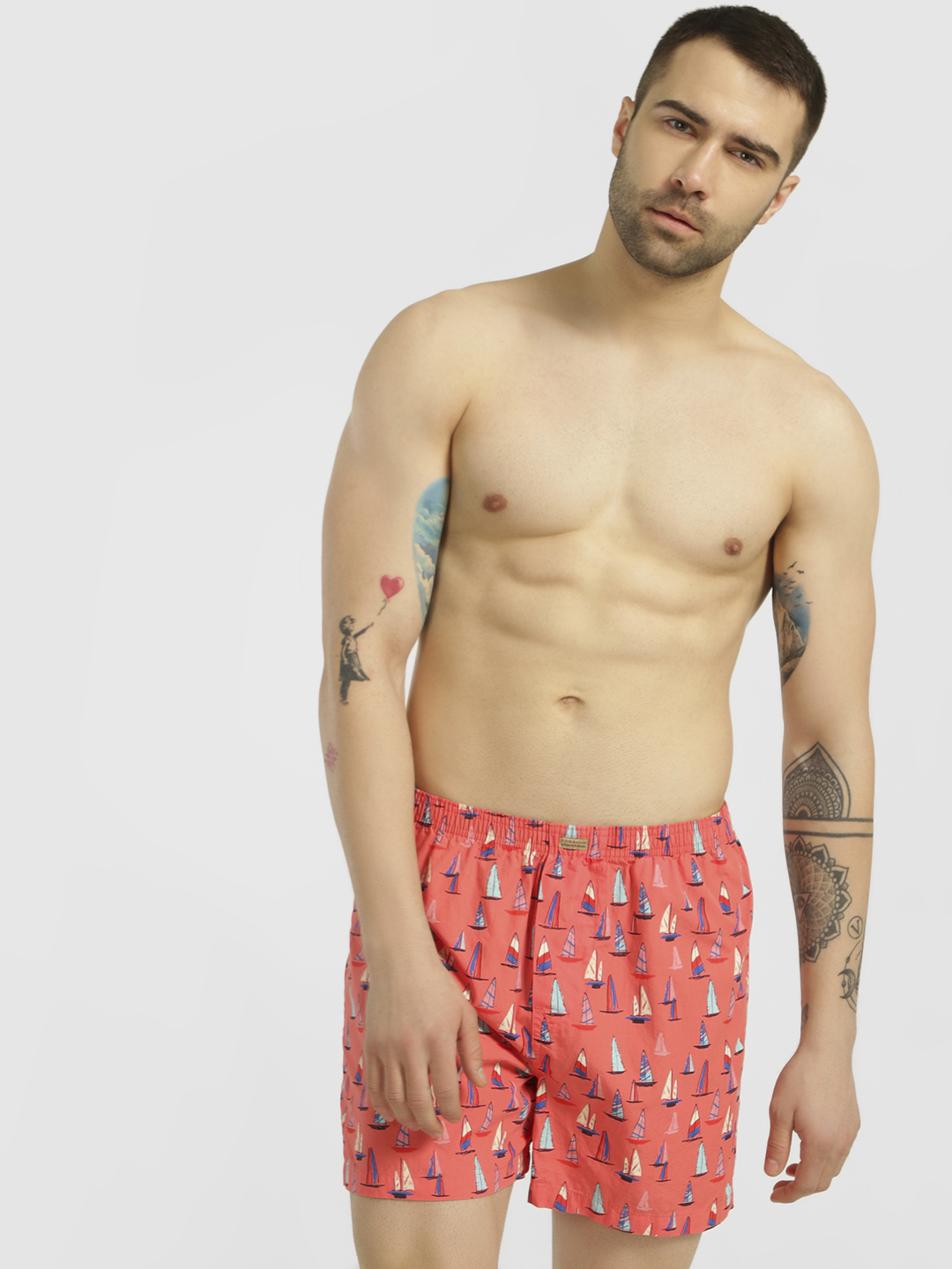 Flying Machine Pink All Over Ship Print Boxers 1