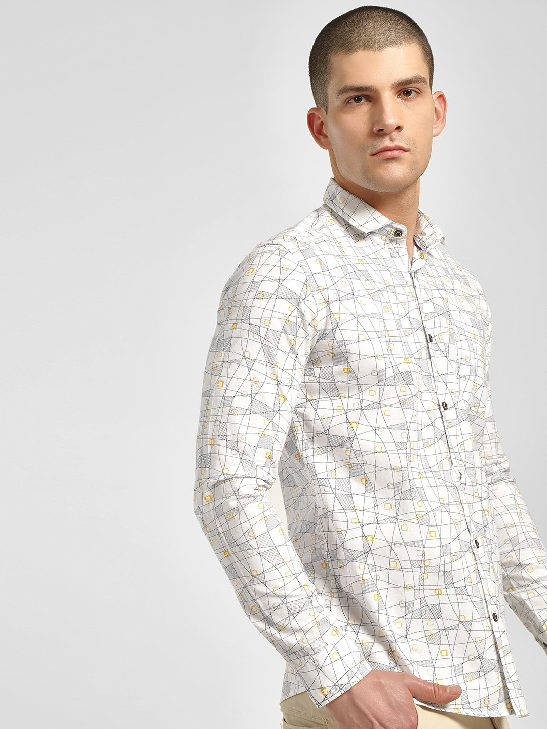 AMON White Geometric Print Casual Shirt 1