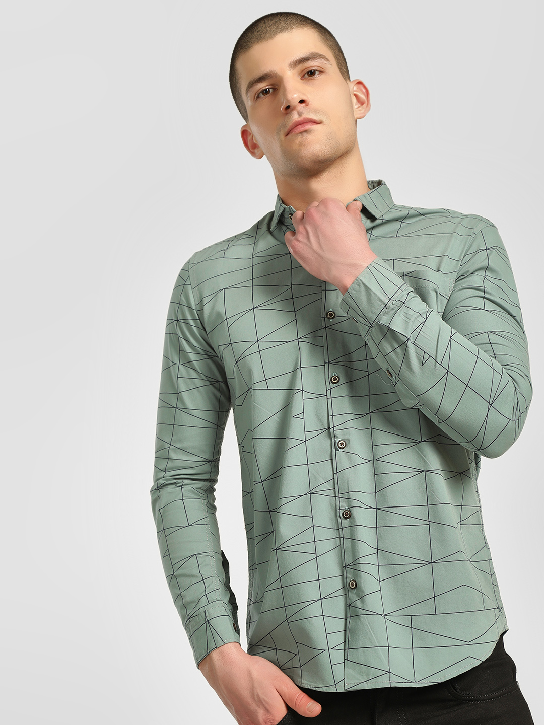AMON Green Geometric Print Casual Shirt 1
