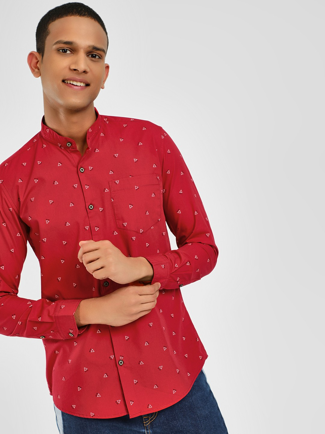 AMON Red Granddad Collar Casual Shirt 1