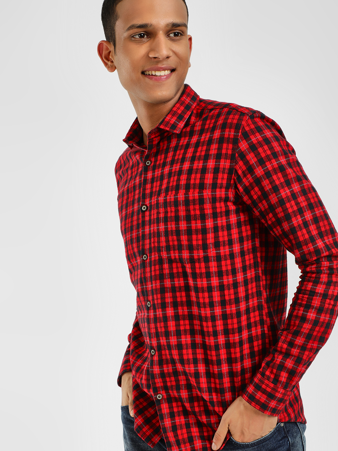AMON Red Woven Multi-Check Casual Shirt 1