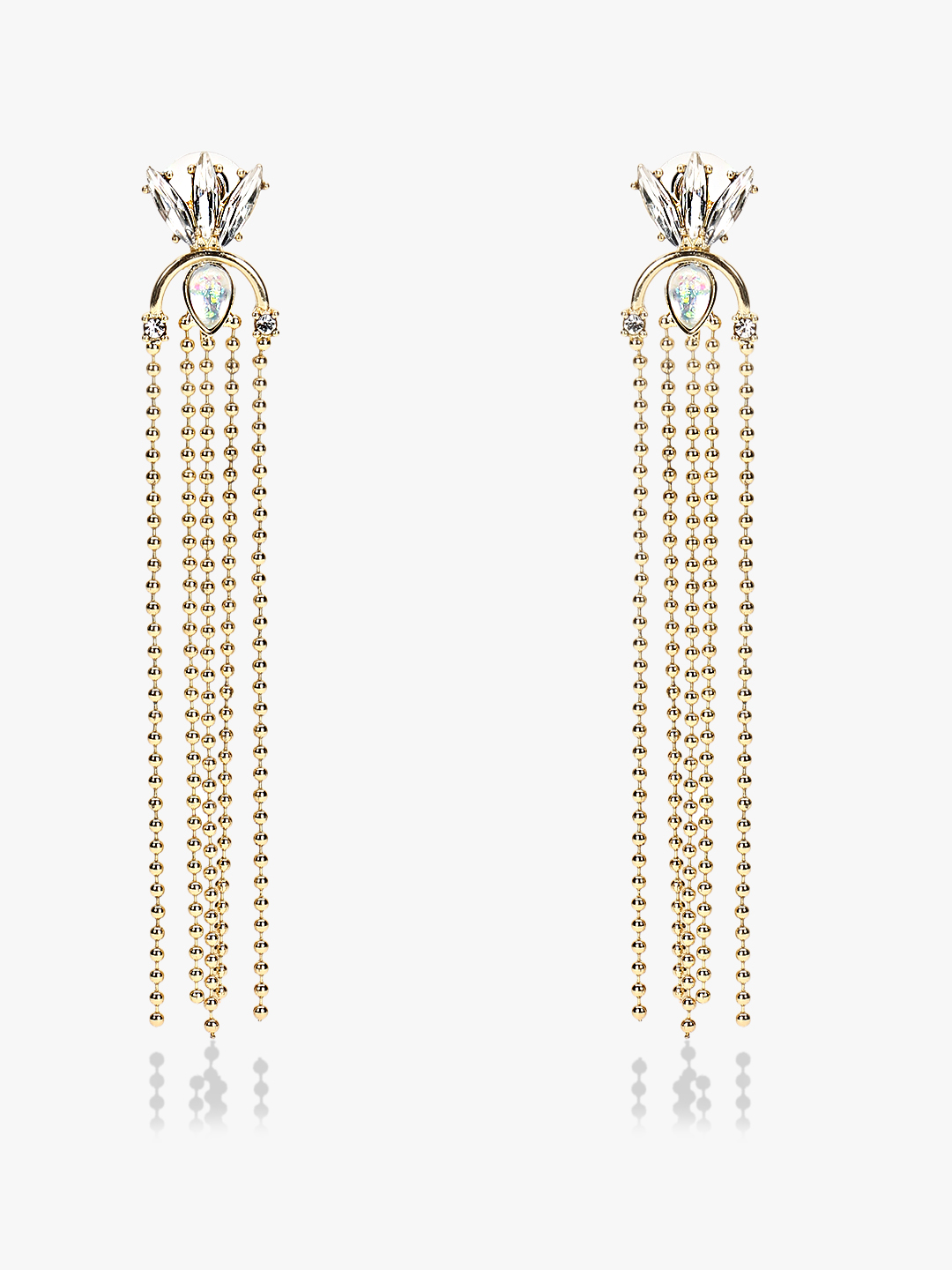 Style Fiesta Gold Gem Embellished Chain Drop Earrings 1