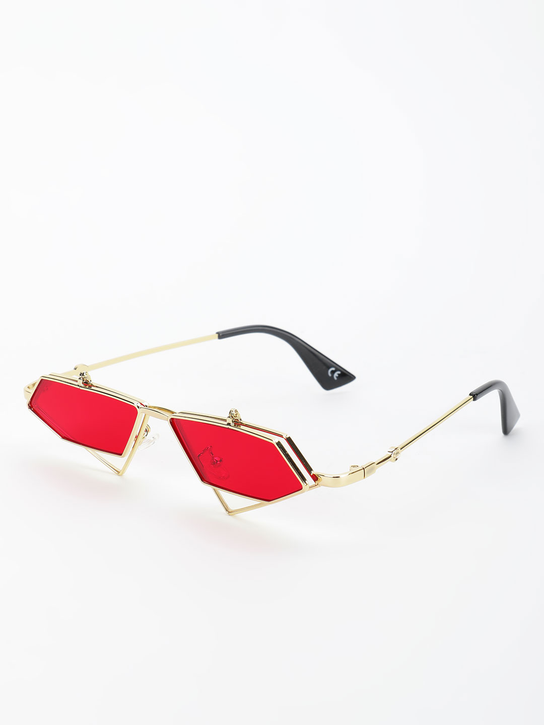 Style Fiesta Red Hexagonal Coloured Lens Retro Sunglasses 1