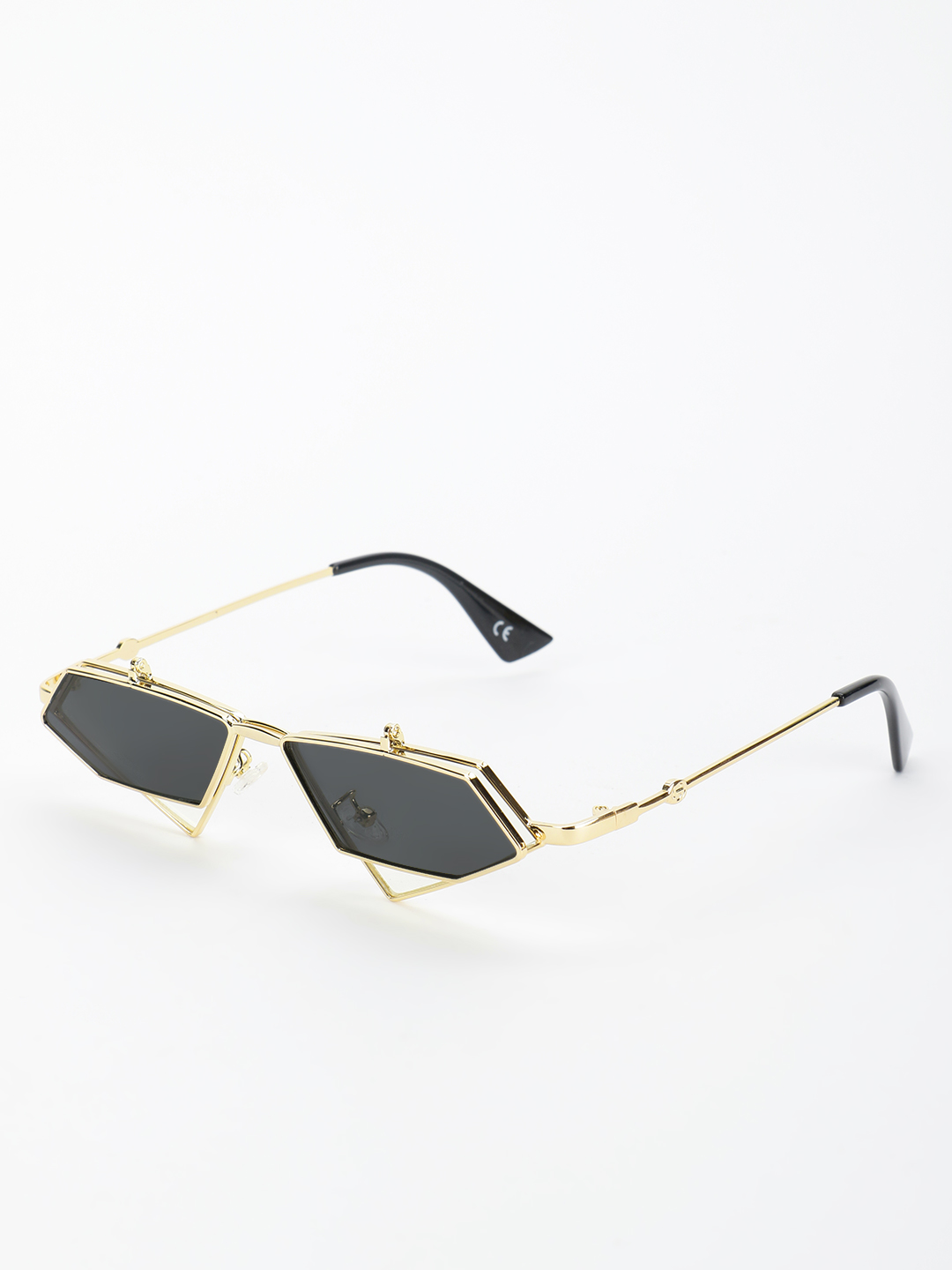 Style Fiesta Black Hexagonal Coloured Lens Retro Sunglasses 1
