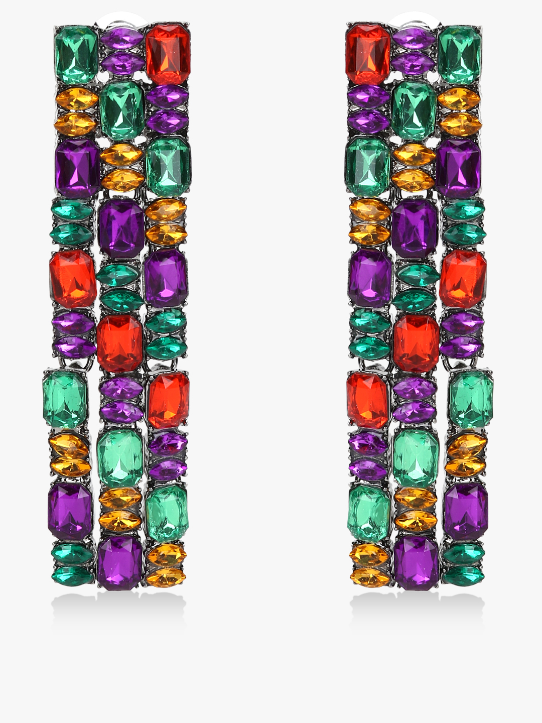 Style Fiesta Multi Square Gem Embellished Earrings 1