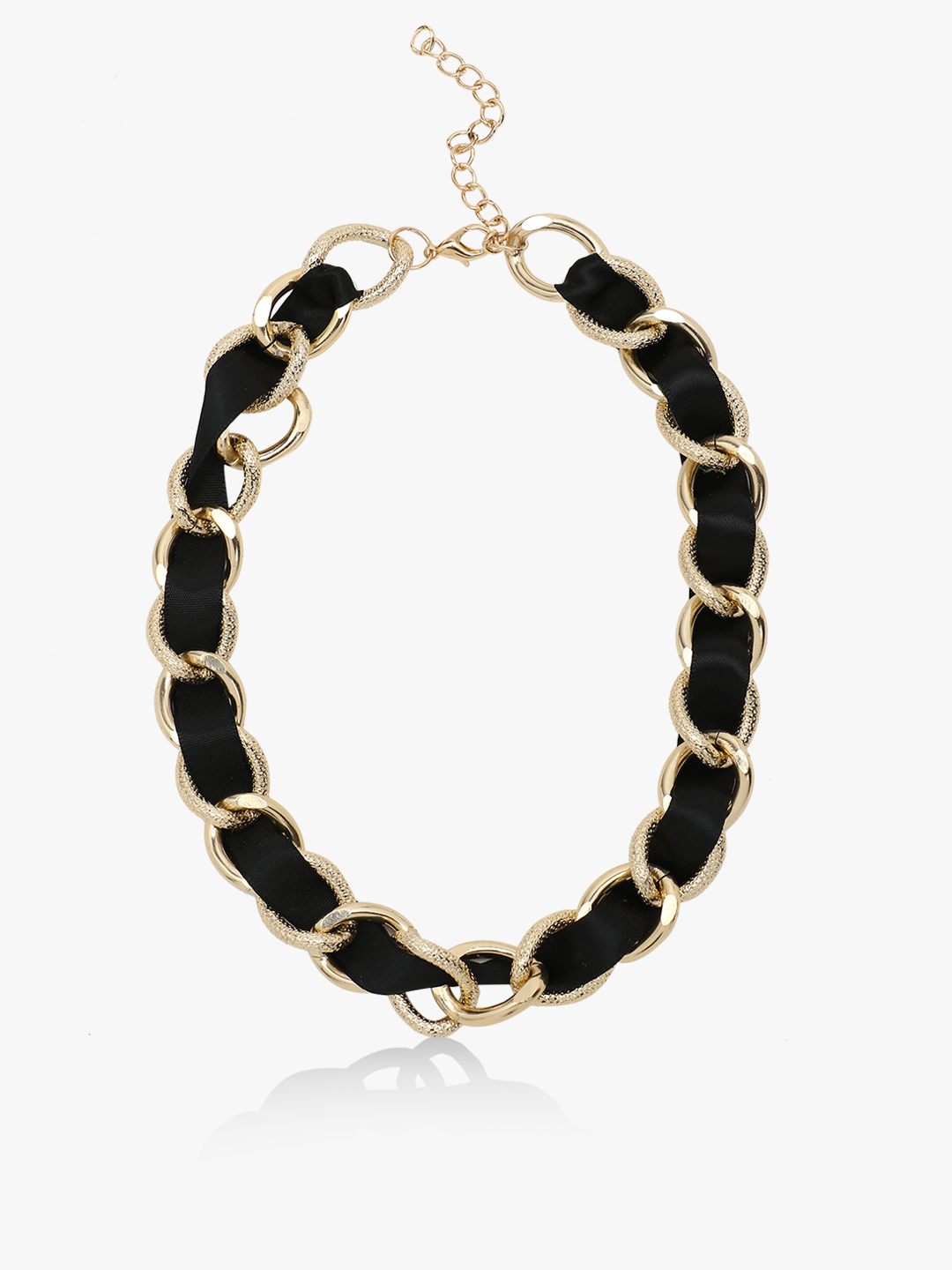 Style Fiesta Black/gold Satin And Chain Detail Necklace 1