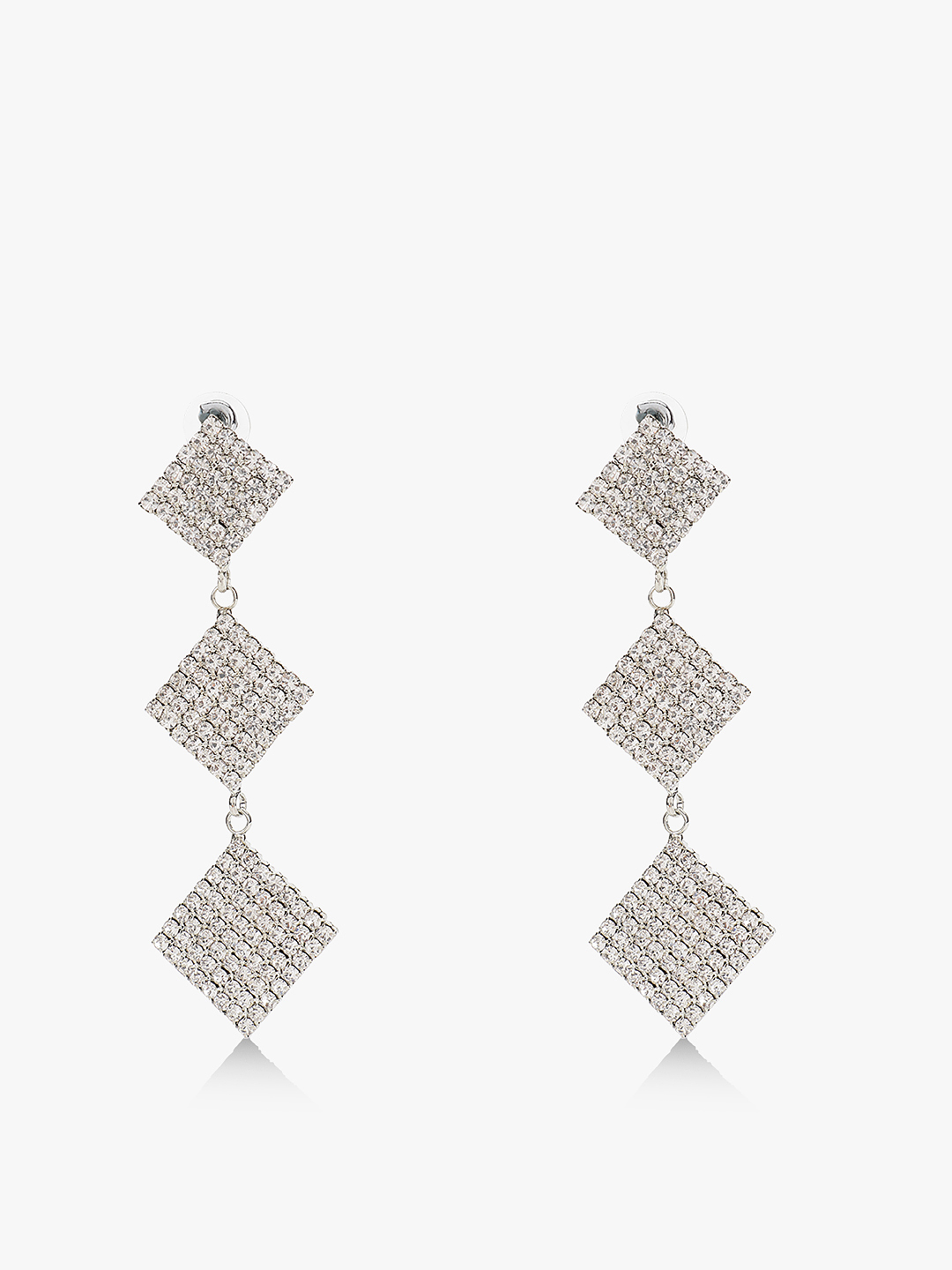 Style Fiesta Silver Square Diamante Embellished Danglers 1