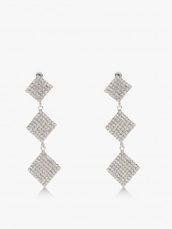 Style Fiesta Square Diamante Embellished Danglers
