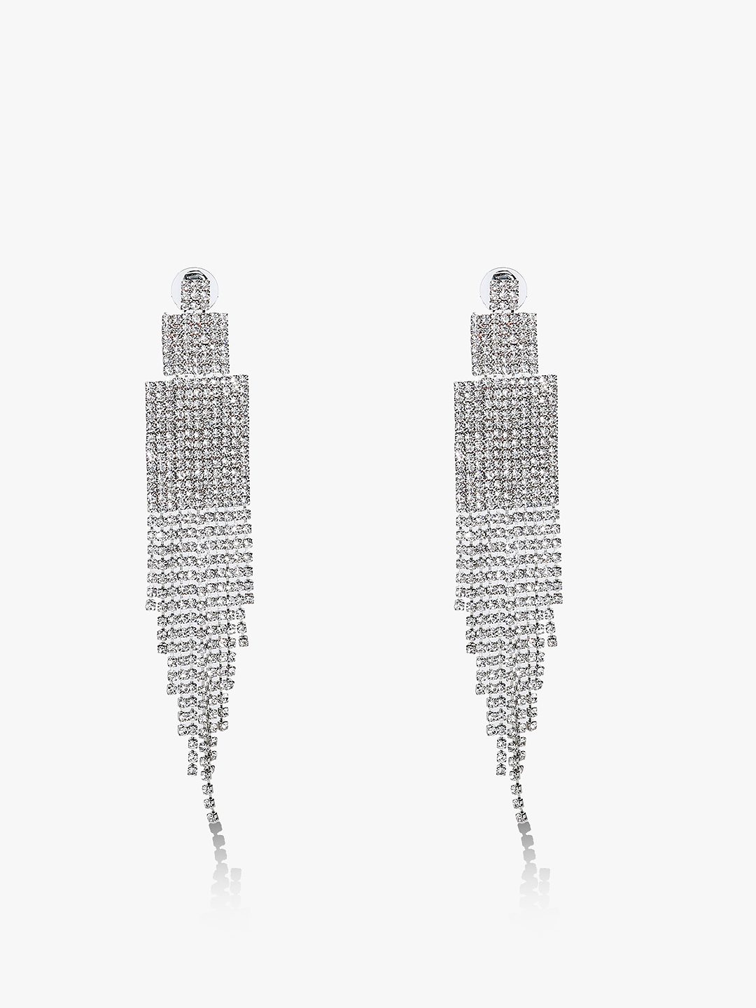 Style Fiesta Silver Layered Crystal Statement Earrings 1