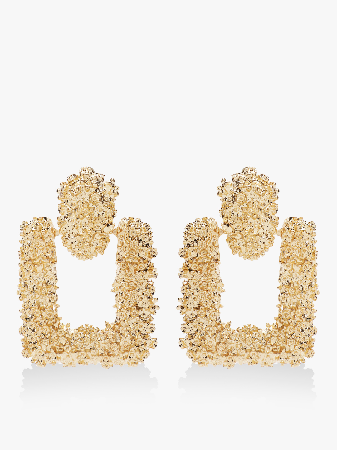 Style Fiesta Gold Square Gold Encrusted Earrings 1