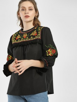 KOOVS Floral Embroidered Tassel Detail Blouse