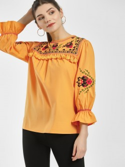 KOOVS Embroidered Yoke Tassel Detail Top