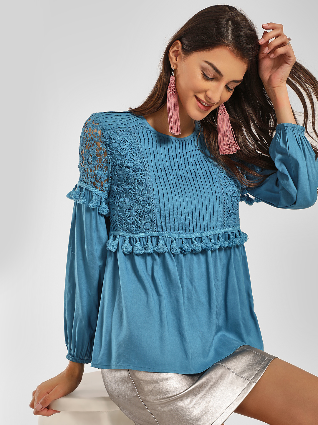 KOOVS Blue Crochet Lace Tassel Detail Blouse 1