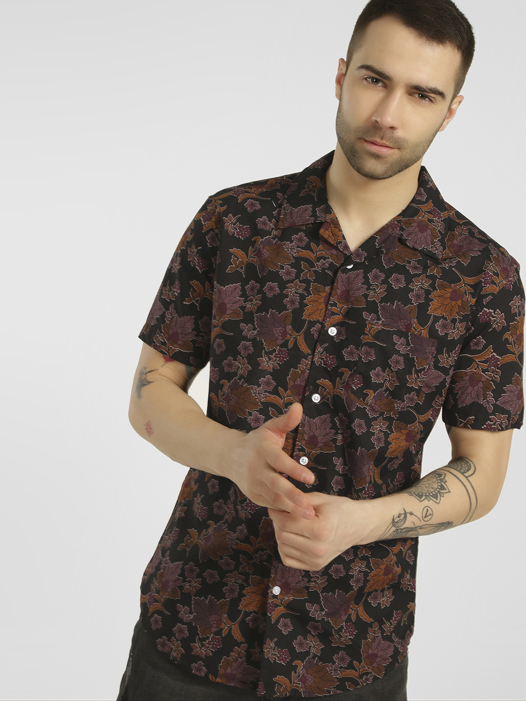 Spring Break Multi Floral Cuban Collar Shirt 1