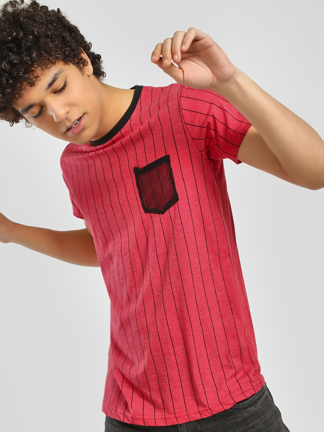 Spring Break Red Mesh Pocket Vertical Stripe T-Shirt 1