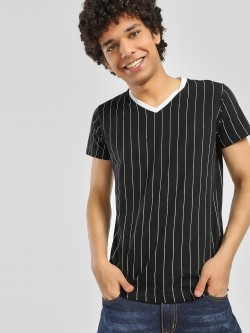 Spring Break Vertical Stripe V-Neck T-Shirt